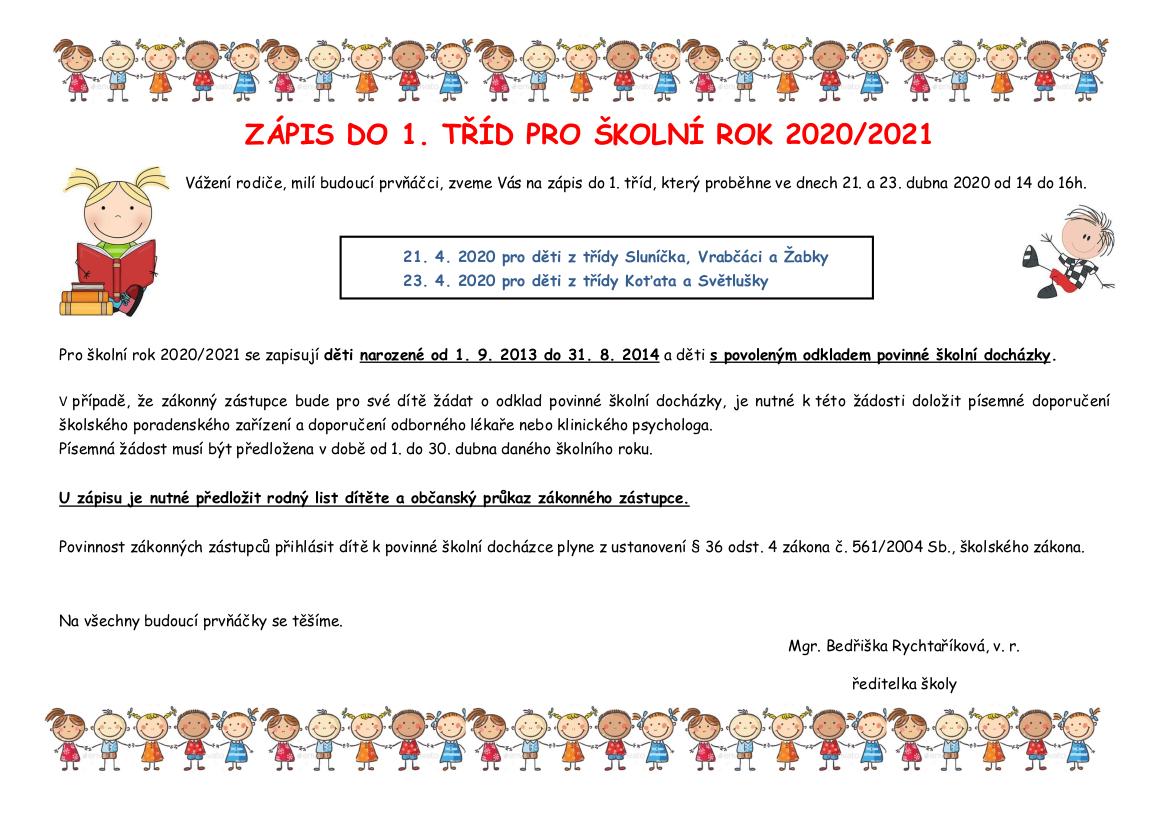 Zápis do prvních tříd pro školní rok 2020/2021
